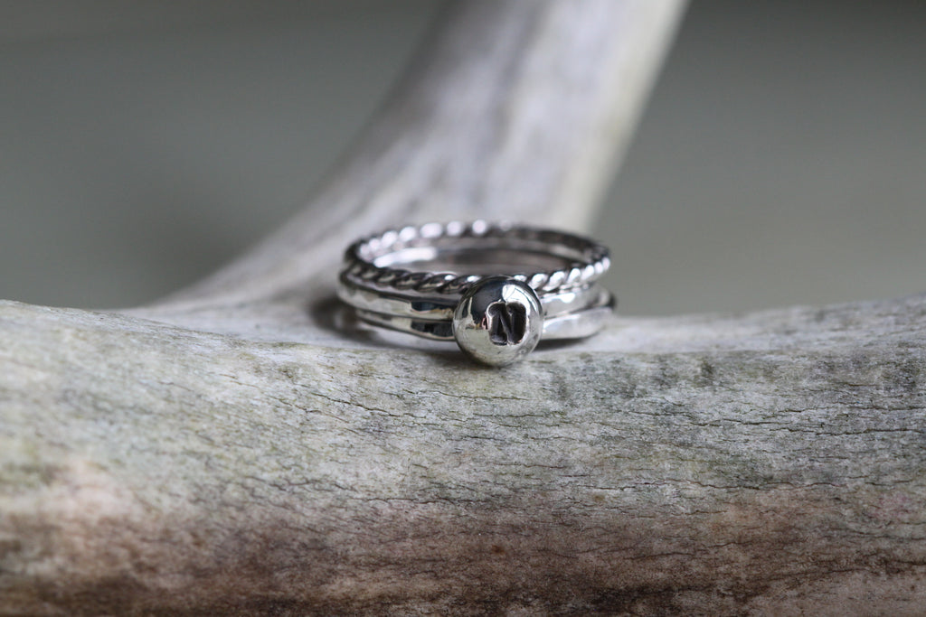 Silver Drop Initial Ring Set - One Letter