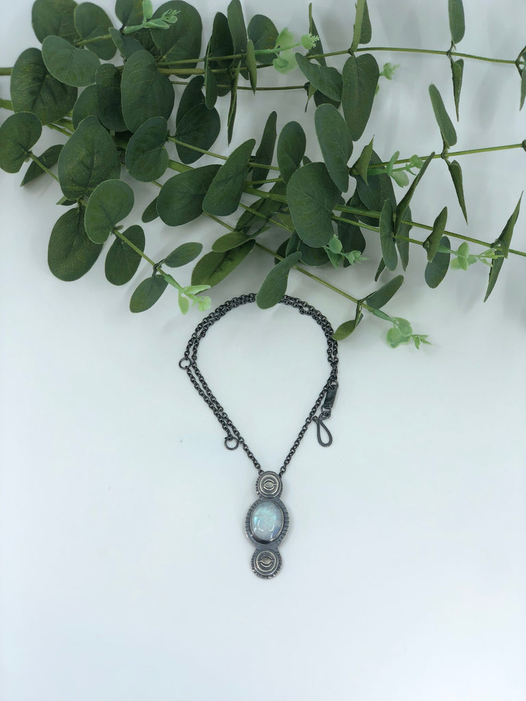 Stamped Moonstone Pendant Necklace