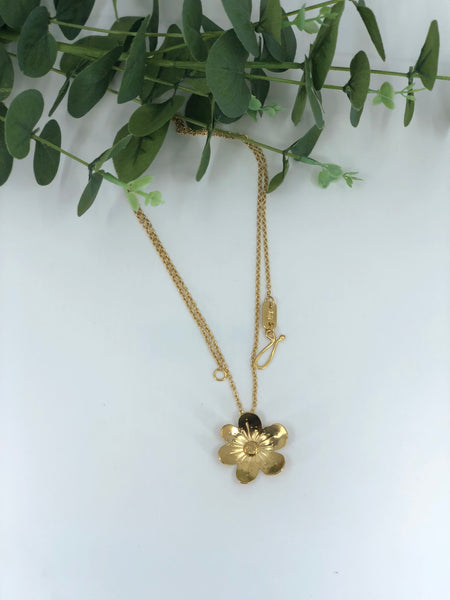 Dogwood Flower Pendant Necklace - Large Gold Vermeil