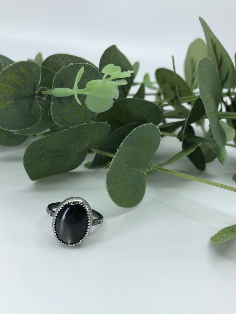 Black Moonstone Enchantment Ring - Size 7