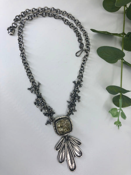 Pyrite Leaf Fringe Necklace