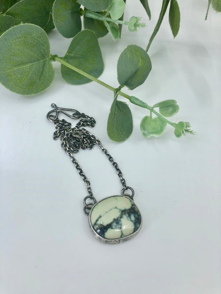 Poseidon Variscite Leaf Skeleton Necklace