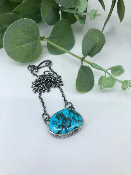 Kingman Turquoise Leaf Skeleton Necklace