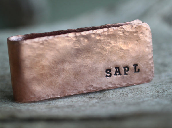 Rustic Personalized Copper Money Clip