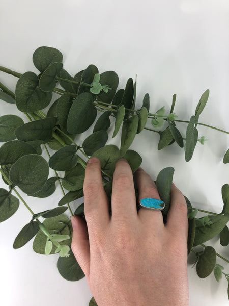 Leaf Skeleton Turquoise Ring - Size 7