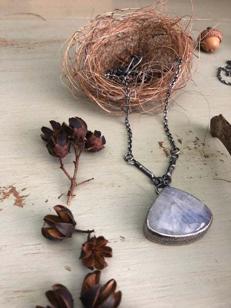 Moonstone Twig & Leaf Skeleton Necklace #2
