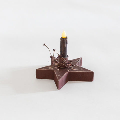 Candle with hand painted rustic star base