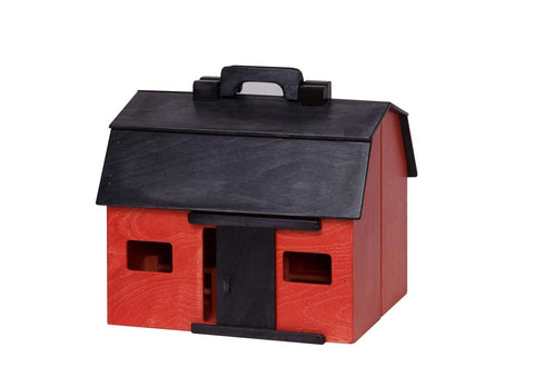 Folding Barn - Red w/ Black Roof