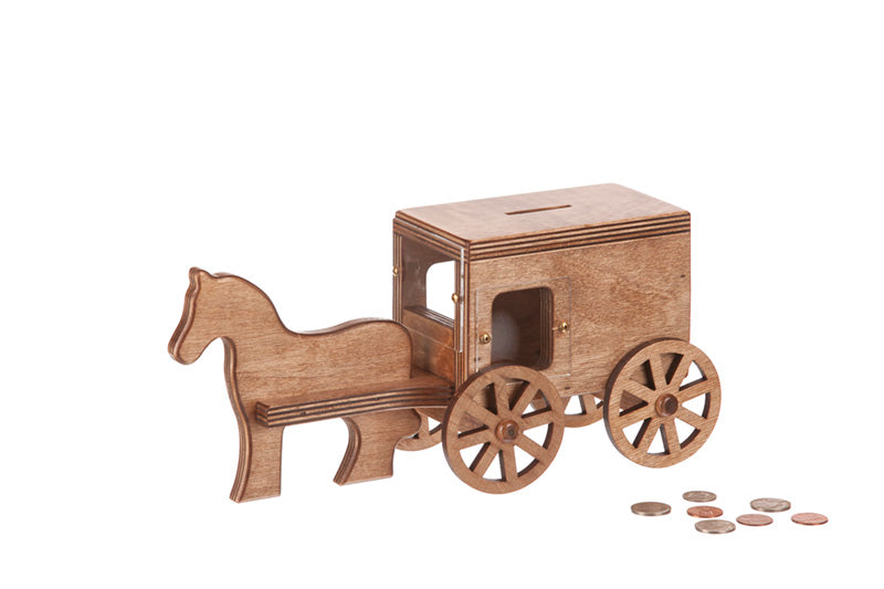Horse & Buggy Coin Bank - Black/Gray