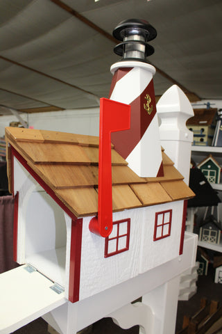 Amish made Wood Lighthouse Mailbox with solar lights