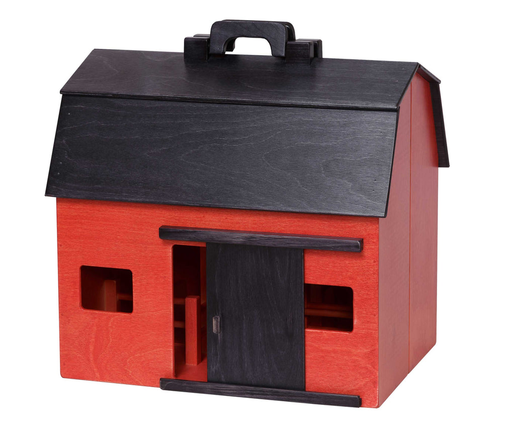 Folding Barn (Large) - Red with Black Roof