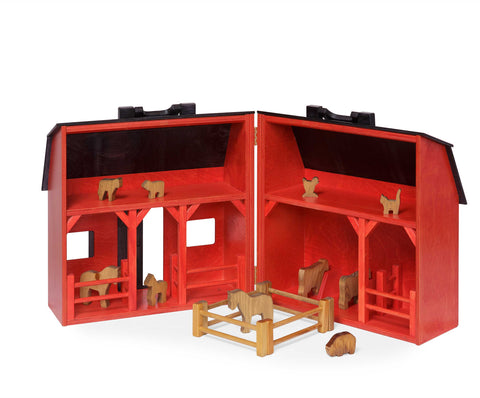 Folding Barn (Large) Red w/ Black Roof - w/ Animals Set