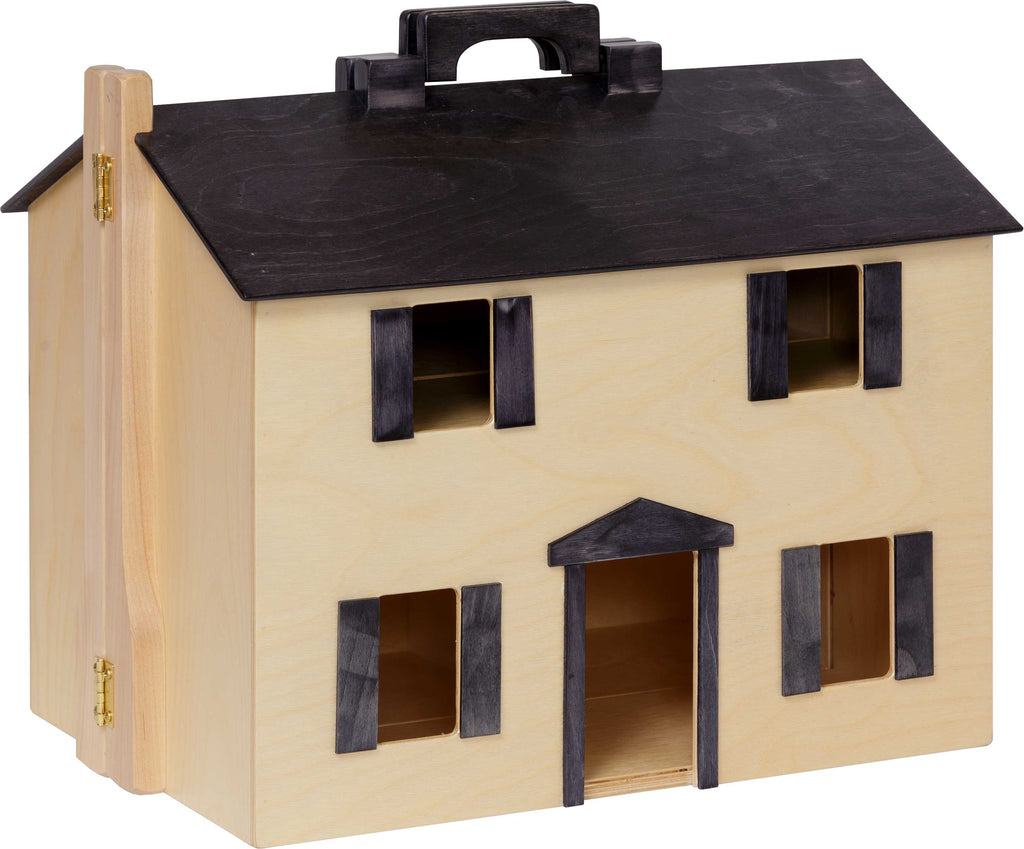 Folding Doll House - Maple w/ Black Roof