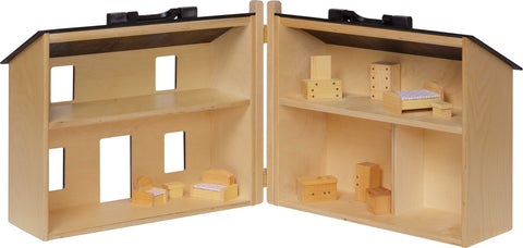 Folding Doll House - (Large) w/Furniture. Maple w/ Black Roof