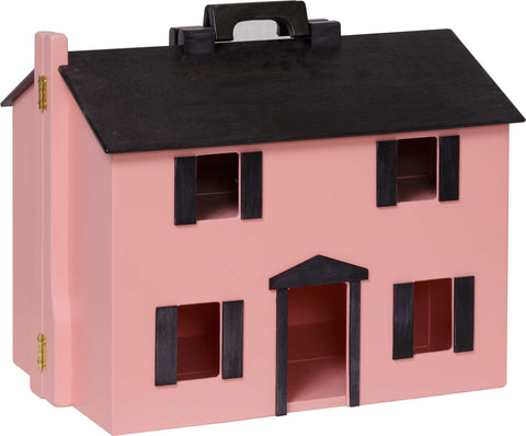 Folding Doll House (Large) w/ Furniture. Pink w/ Black Roof