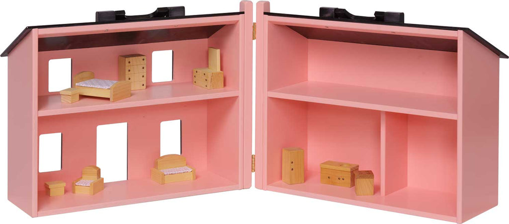 Folding Doll House w/ Furniture - Pink w/ Black Roof
