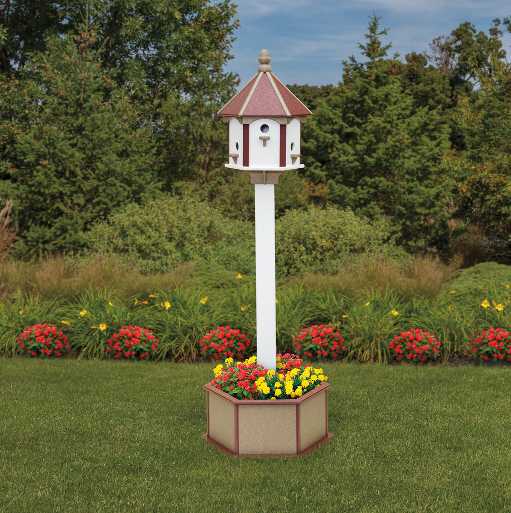 Classic 6 hole birdhouse with Poly Post and Planter