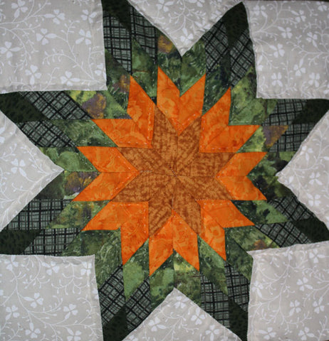 8 Point Yellow Green Star Quillow