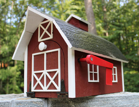 Amish Handmade Red Barn Mailbox