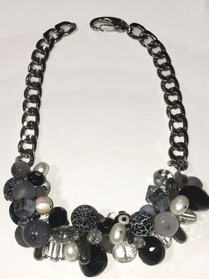 Bike Chain Cluster Necklace - B & W
