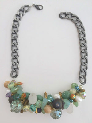 Bike Chain Cluster Necklace - Mint