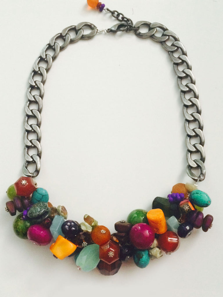 Bike Chain Cluster Necklace - Bohemia