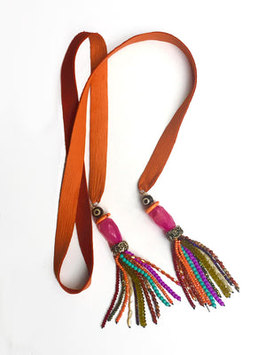 Orange Tassel Tie Necklace