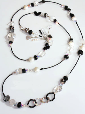 Embellish Strand Necklace - B & W