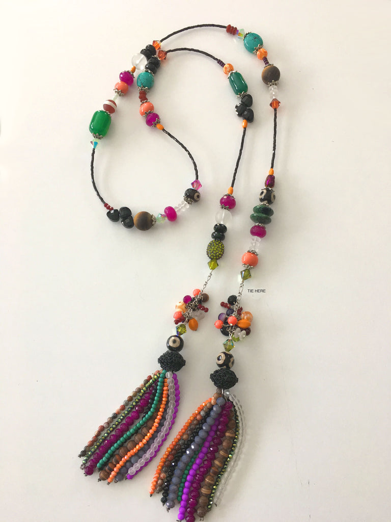 Tassel Simple Tie Necklace - Aztec