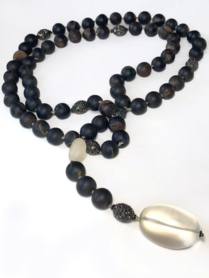 Grey Onyx Mala Necklace