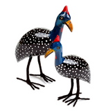 Guinea Fowl: Hand-Carved & Painted Jacaranda