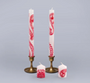 Kapula Hand-Painted Candles - Henna Red on White