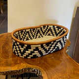 Across Africa Black and White Basket - Oval