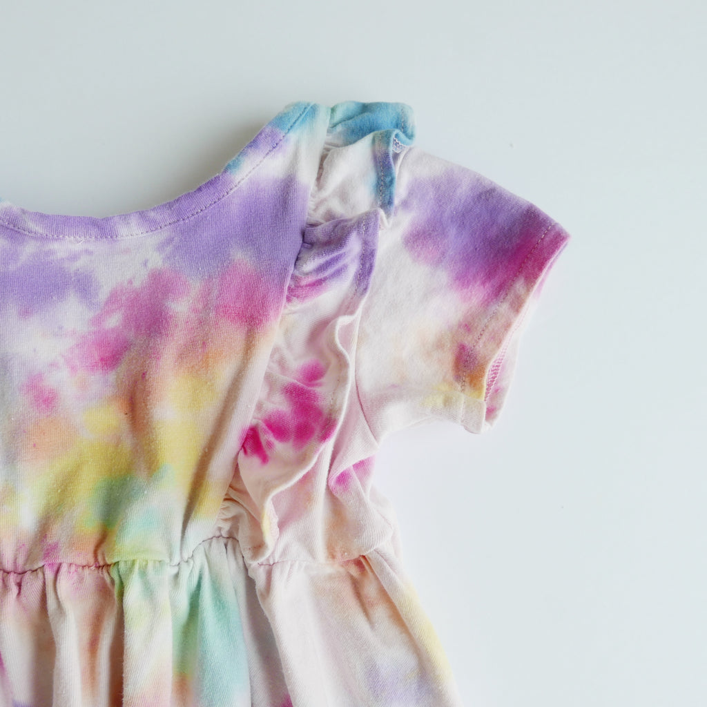 Small Batch Tie-Dye Lulu Ruffle Dress- Rainbow Dye