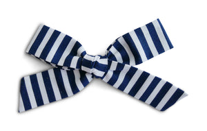 Navy Stripe - Oversized Cotton Schoolgirl Bow
