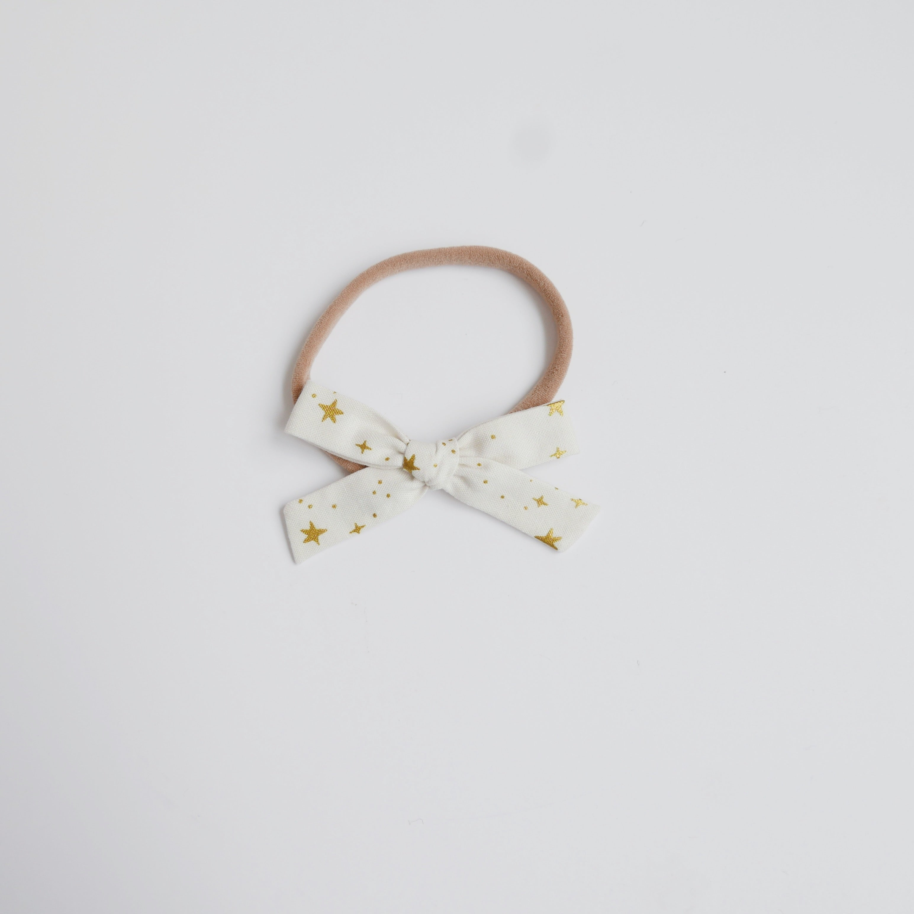 Cream Stars - Cotton Schoolgirl Bow