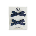 Chambray Dot - Cotton Schoolgirl Bow