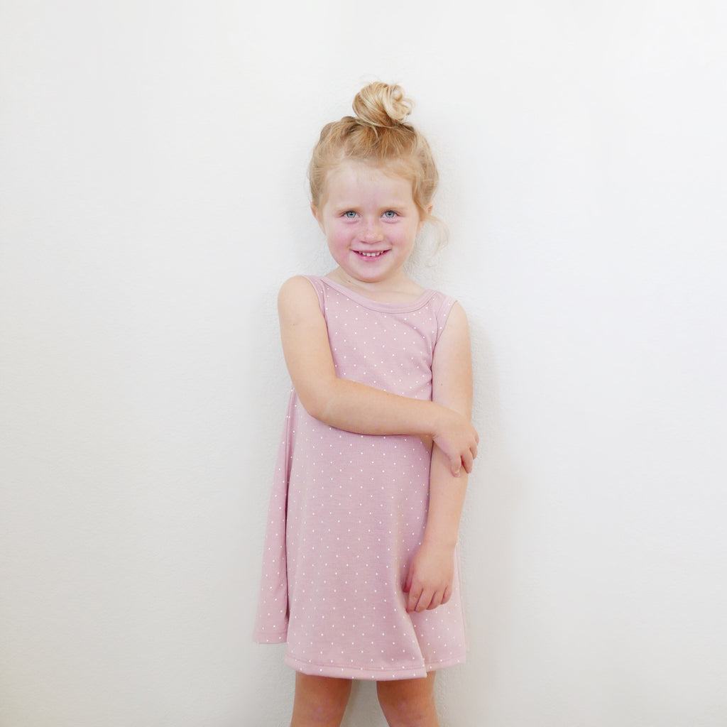 Dusty Rose Dot Dress - Wynne Dress