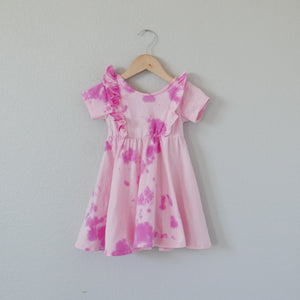Small Batch Tie-Dye Lulu Ruffle Dress- Just The Pinks