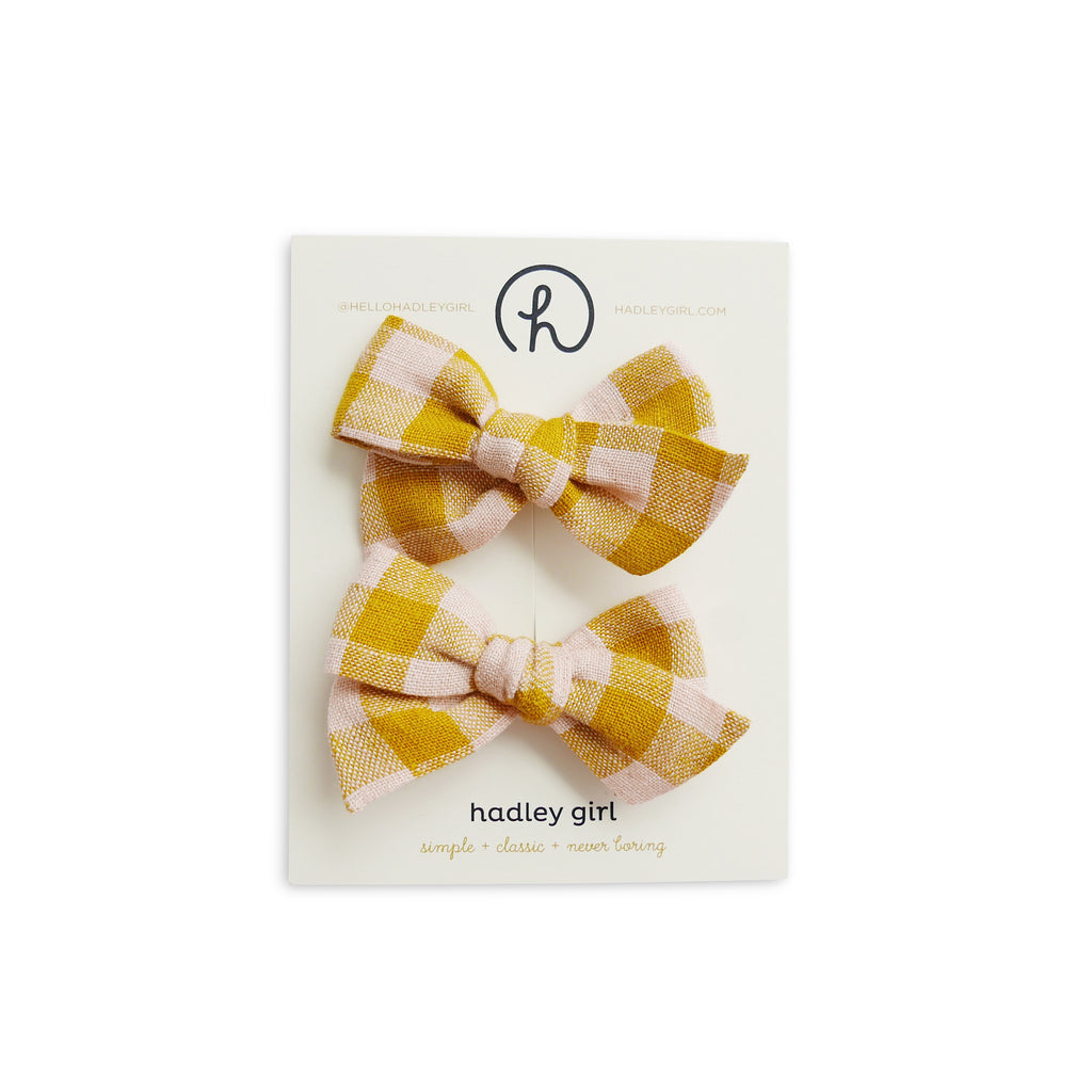 Sunshine Plaid - Baby Mess Bow