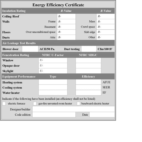 Energy Efficiency Certificate Sticker (packets of 25)