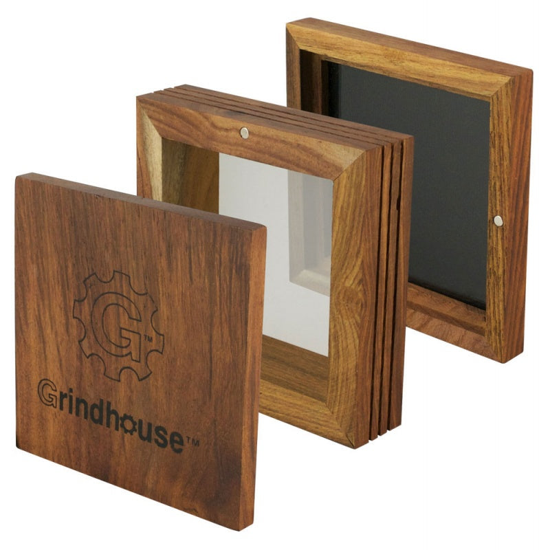 "Grindhouse 5"" x 5"" Wood Pollen Box w/ Magnetic Lid"