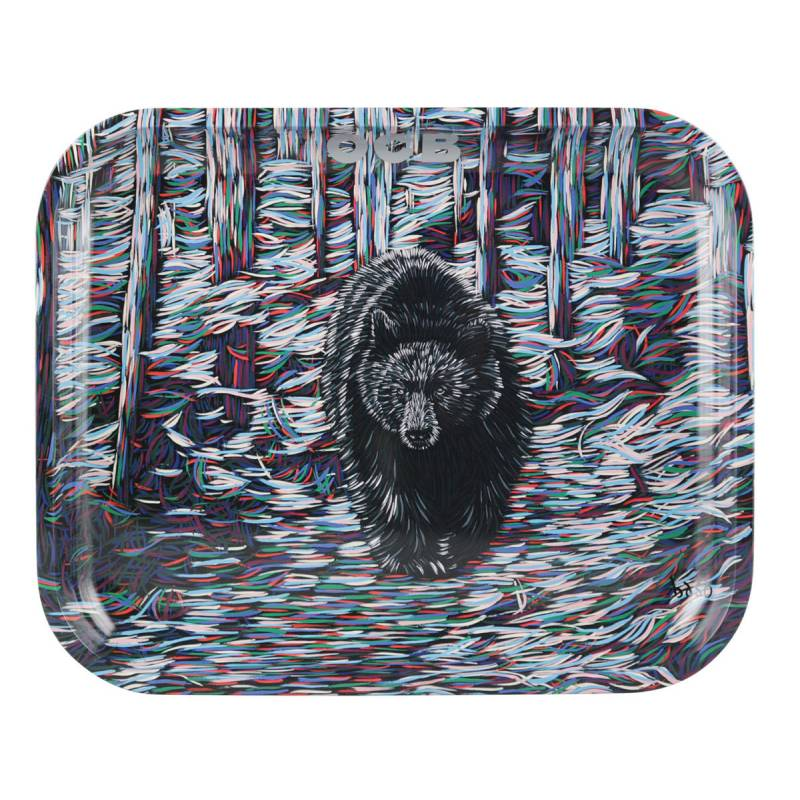 "OCB 14"" x 11"" Large Metal Rolling Tray – Bear"