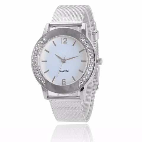 Hot Women Watch Crystal Silver Stainless Steel Analog Quartz Wrist Watch Bracelet Watches with Fine Alloy Strap Dress watch