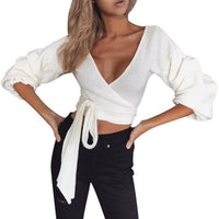 Fashion Puff Sleeve Blouse 2017 Women Ladies V Neck Knitted Short Sweater With a Slash Long Sleeve Casual Solid Crop Tops Blusas