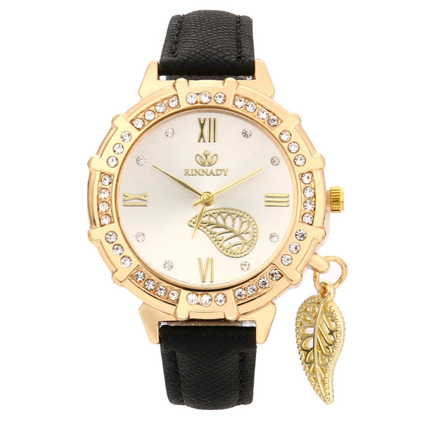 New Women Quartz Wrist Leaves Tower Rhinestone Pendant Wrist Watch