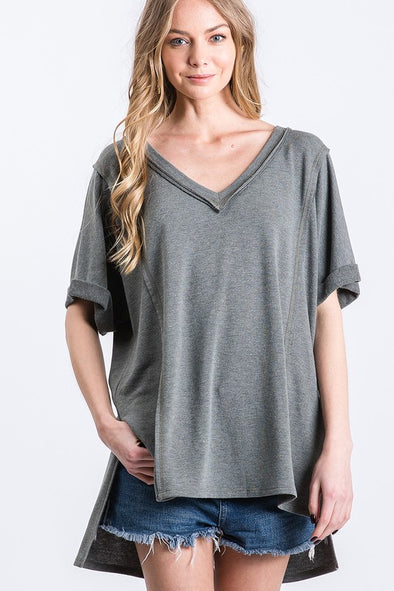Plus Size Vintage V-Neck Top