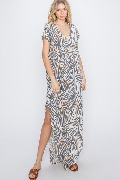 Plus Size Zebra Print Maxi Dress