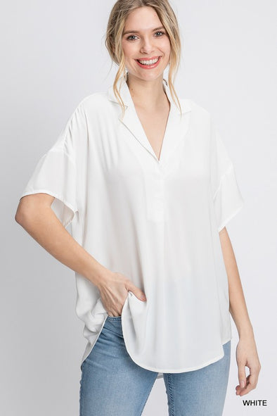 Collared White Button Down Flowy Top