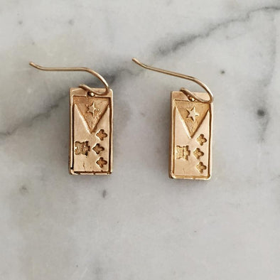 Mimosa Acadian Flag Earrings | Mimosa Handcrafted | Wanderlust By Abby